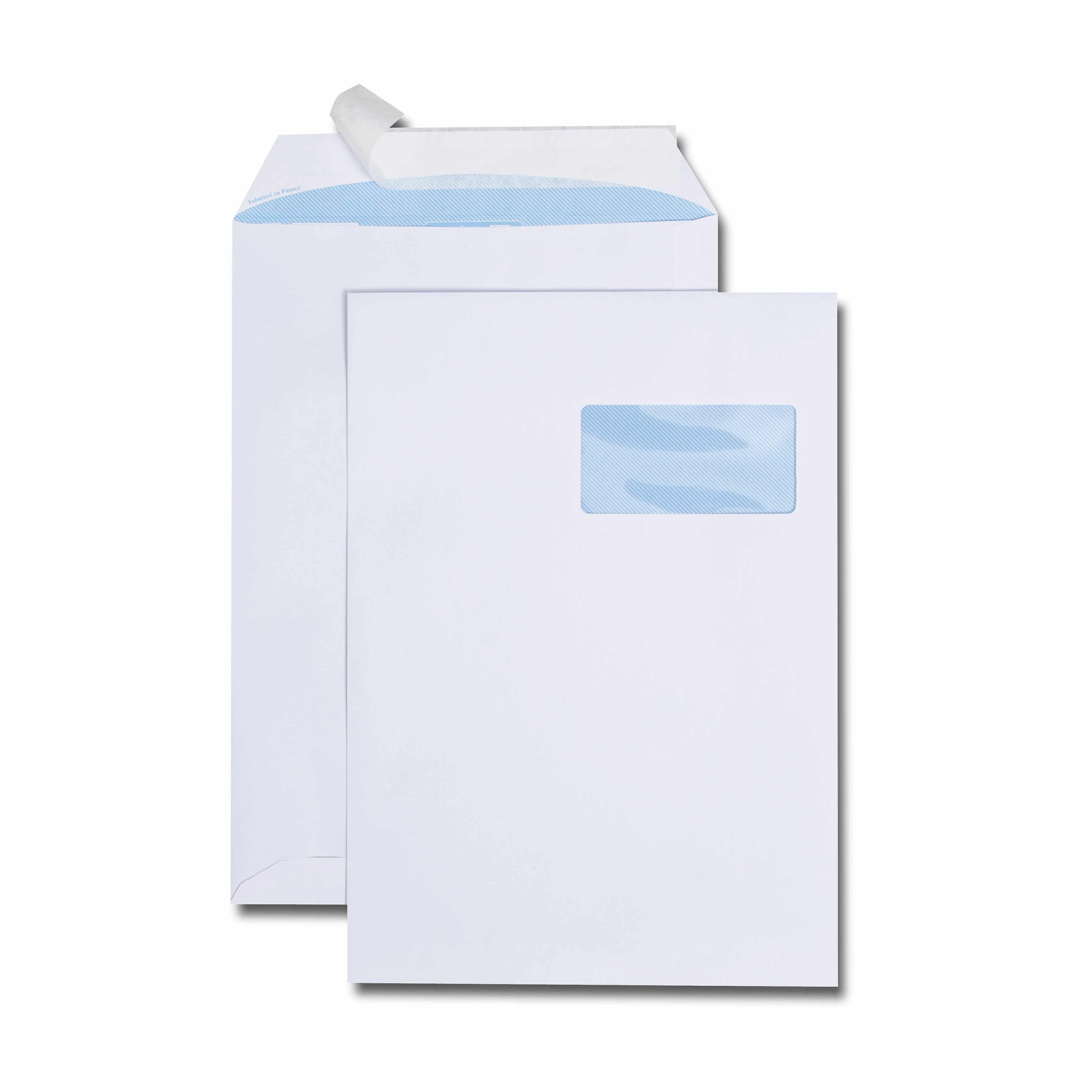 Boîte de 250 pochettes blanches C4 229x324 100 g/m² fenêtre 100x50 bande de protection
