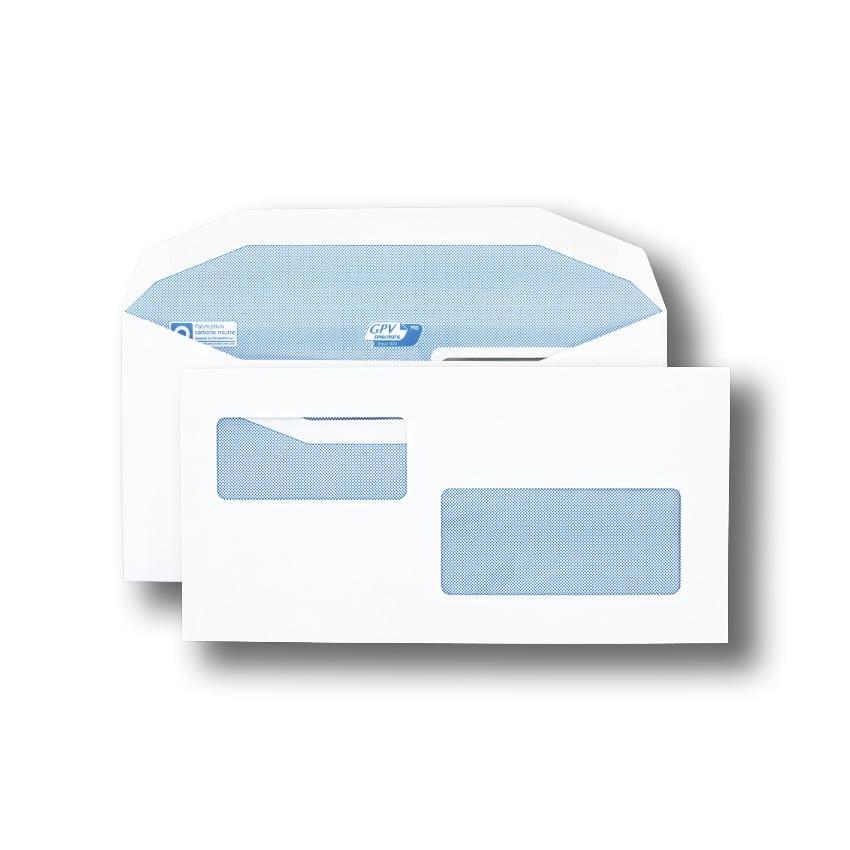 Boite de 1000 enveloppes patte trapèze blanches C6/C5 115x229 80 g/m² double fenêtre 45x100 et 35x80 gommées