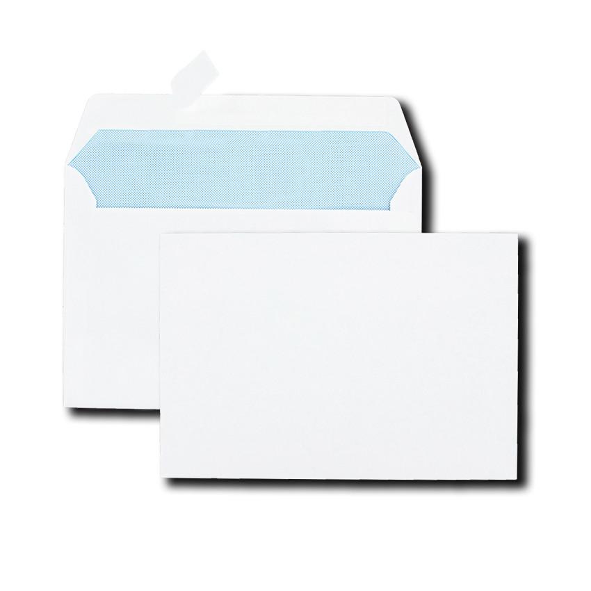 Boîte de 500 enveloppes blanches B6R 120x176 80 g/m² bande de protection