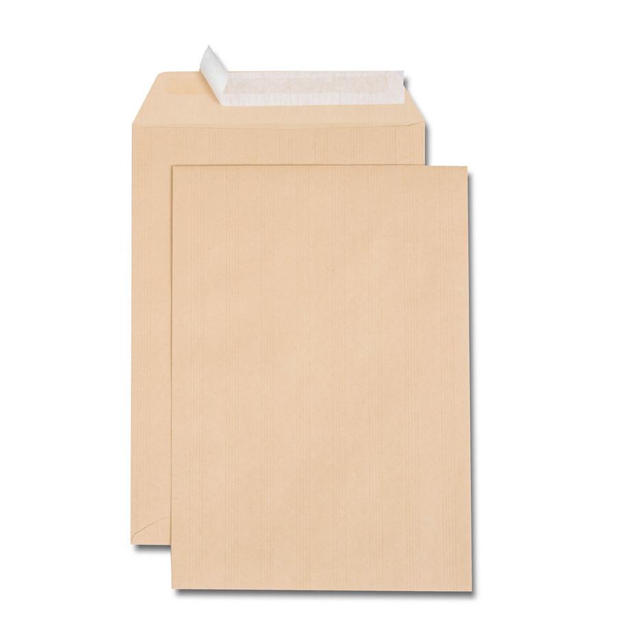 Boîte de 250 pochettes kraft adour C4 229x324 90 g/m² bande de protection