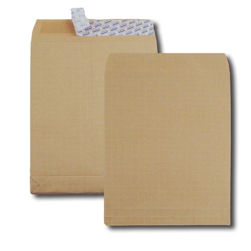 Boite de 250 sacs à soufflets kraft armé brun B4 250x353 130 g/m² bande de protection