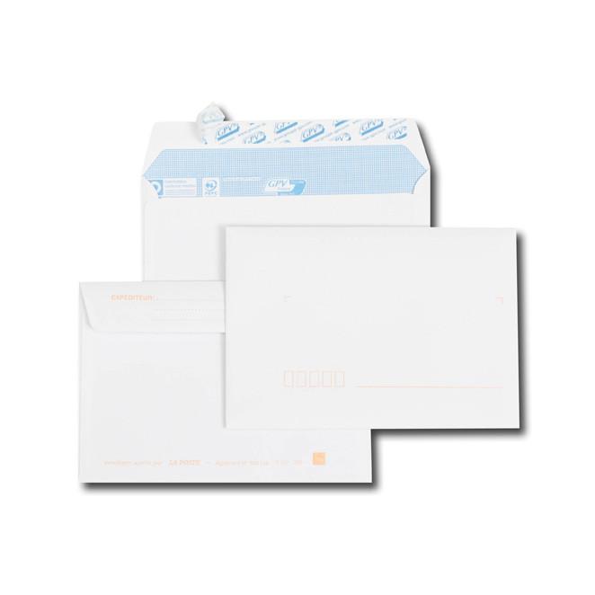 Paquet de 50 enveloppes blanches C6 114x162 90 g/m² précasées bande de protection
