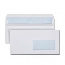 Boîte de 500 enveloppes blanches DL 110x 220 80g/m² fenêtre 45x100 autocollantes