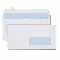 Boîte de 500 enveloppes blanches DL 110x 220 80g/m² fenêtre 35x100 bande de protection