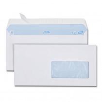 Boîte de 500 enveloppes blanches DL 110x 220 80g/m² fenêtre 45x100 bande de protection