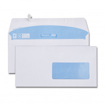 Boîte de 500 enveloppes blanches DL 110x220 80 g/m² fenêtre spéciale numérique 45x100 bande de protection