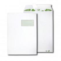 Boite de 250 pochettes extra blanches 100% recyclées C4 229x324 90 g/m² fenêtre 100x50 bande de protection