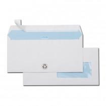 Boite de 500 enveloppes blanches recyclées 100% DL 110x220 80 g/m² fenêtre 45x100 bande de protection