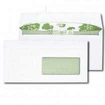 Boite de 500 enveloppes extra blanches 100% recyclées DL 110x220 90 g/m² fenêtre 45x100 bande de protection