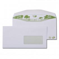 Boite de 1000 enveloppes patte trapèze blanches|C6/C5 115x229 80 g/m² fenêtre 45x100 gommées