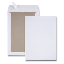 Boite de 100 pochettes dos carton velin blanc C4 229x324 120 g/m² bande de protection