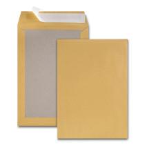 Boite de 100 pochettes dos carton kraft brun C4 229x324 120 g/m² bande de protection