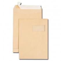 Boite de 250 sacs à soufflets kraft brun C4 229x324 120 g/m² fenêtre 100x50 (25/52) bande de protection