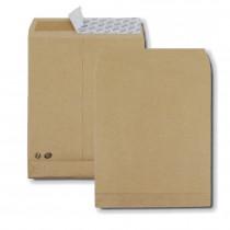 Boite de 250 sacs à soufflets kraft brun B4 250x353 120 g/m² bande de protection