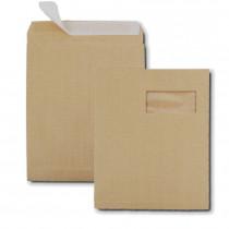 Boite de 250 sacs à soufflets kraft armé brun C4 229x324 130 g/m² fenêtre 100x50 bande de protection