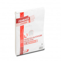 Paquet de 5 pochettes polyéthylène bulles d'air G 65 microns bande de protection